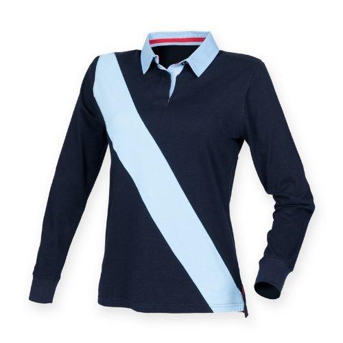 Front Row Damen Rugby-Poloshirt / Polo-Shirt mit diagonalem Streifen, Langarm (Large) (Marineblau/Himmelblau/Himmelbl)