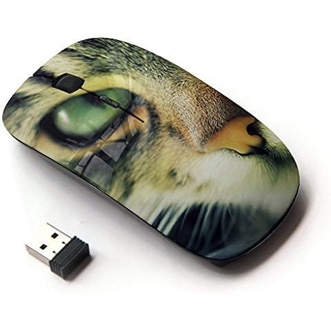 Peculiar-Star ( Chausie Ocicat Cat Serengeti Bengal ) Impreso colorido ultrafino sin hilos óptico del ratón de 2,4 GHz-Negro