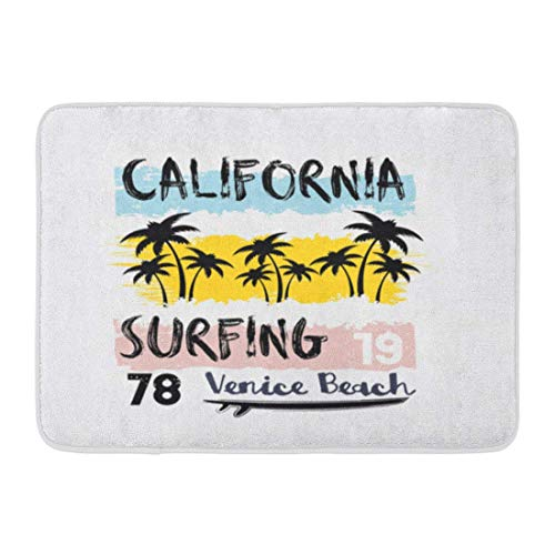 LIS HOME Fußmatten Bad Teppiche Outdoor/Indoor Fußmatte Sommer des Surfens und Surfens in Kalifornien Venice Beach Vintage Nummer Sport Graphics Paradise Badezimmer Dekor Teppich Badematte