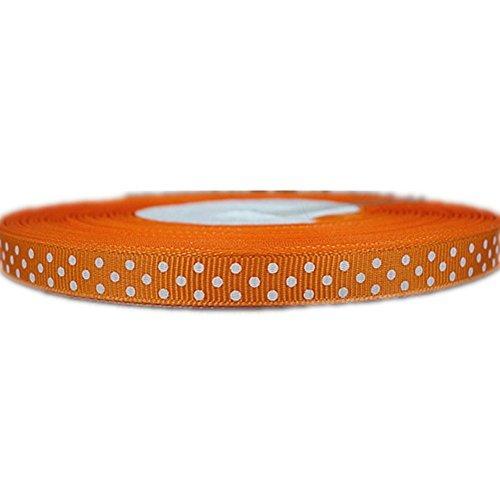 Swiss Dot Ribbon (Xiangming 50yd 3/8 White Swiss Dot Printed Orange Grosgrain Ribbon for DIY by)
