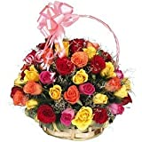 Golden Cart Fresh Flower PREMIUM FLOWER BASKET OF ROSES to Convey that 'special feeling' I Bouquet Basket (51 Fresh Roses, Multi)