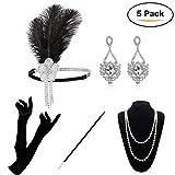 KQueenStar Damen Accessoires Set Halskette Handschuhe Zigarettenhalter Stirnband 20er Jahre 1920s Charleston Gatsby Retro Stil Kostüm Ball (White Set)