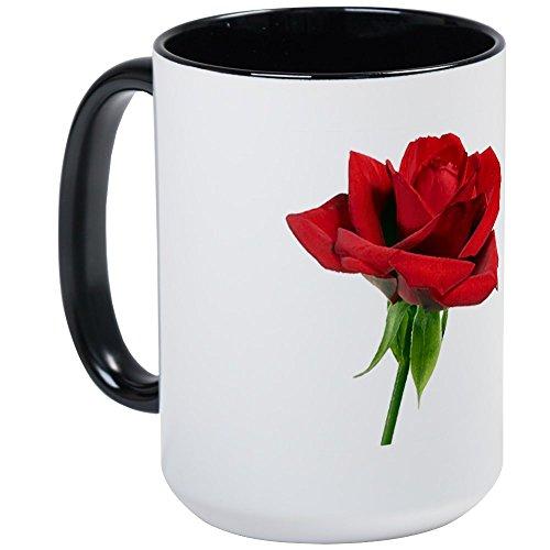 CafePress-Red Rose Tasse groß-Kaffee Tasse, groß 15Oz Weiß Kaffee Tasse Large White/Black Inside White Rose Tasse