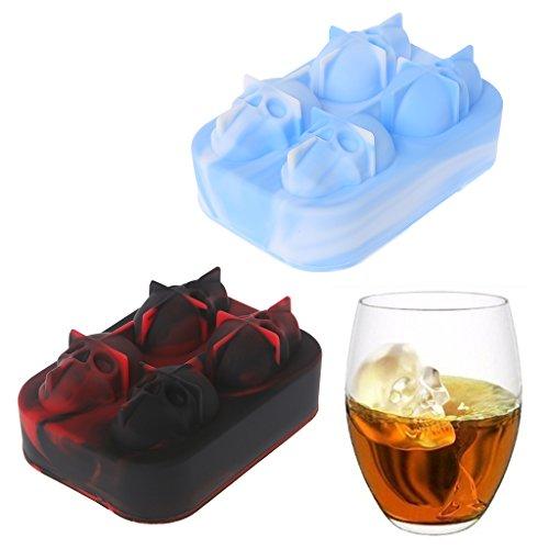 Yunso 3D Totenkopf Eiswürfelform, Migimi Silikonform Eiswürfel Ice Tray Ice Cube Ice Form Würfel Eiswürfel, Silikon Eiswürfelbehälter für Bier, Cocktails, Whisky, Wasser (Schwarz) -