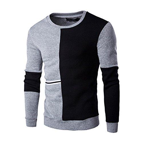 Men's Patchwork Slim Fit O-Neck Pullovers Casual Sweatshirt Black