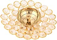 DXYZ Crystal and Brass Round Golden Traditional Handmade Tea Light Holder Akhand Diya for Deepavali, Diwali De