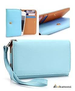 Women's Wallet Universal Phone Case Wrist-let Clutch for Nokia Lumia 800 - BABY BLUE. Bonus Ekatomi Screen Cleaner