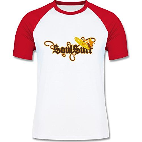 Wassersport - Surfer - zweifarbiges Baseballshirt für Männer Weiß/Rot