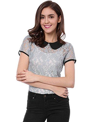 Allegra K Damen Kurzarm Panel Bubikragen Sheer Spitze Top Bluse Grau XS (EU 34) -