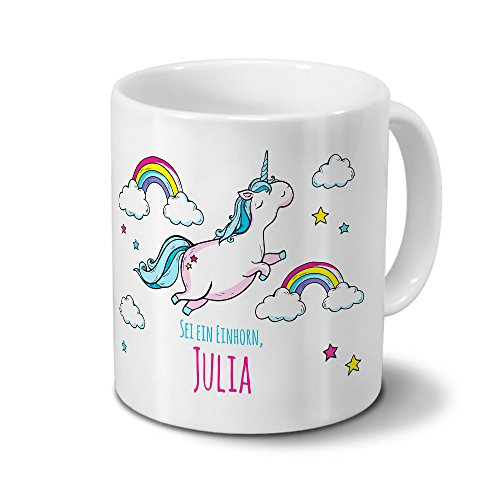 printplanet Tasse mit Namen Julia - Motiv Dickes Einhorn - Namenstasse, Kaffeebecher, Mug, Becher, Kaffeetasse - Farbe Weiß