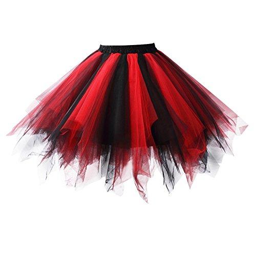 Honeystore Damen's Tutu Unterkleid Rock Abschlussball Abend Gelegenheit Zubehör Schwarz und Rot ()