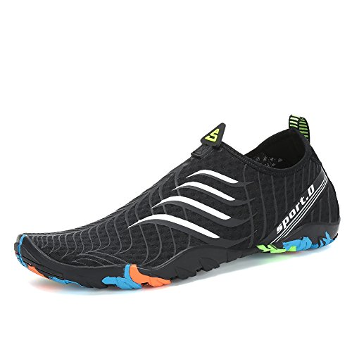 Voovix Calcetines de Agua Transpirable Aqua Unisex Zapatos de Agua Descalza de Secado Rápido Zapatillas Livianas para Nadar Yoga Surf Beach Shoes Hombres Mujeres(Blackwhite,44)