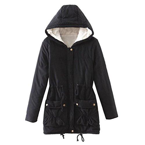 Xinan Abrigo largo cálido para mujer Chaqueta de cuello con capucha Abrigos largos de invierno Parka Outwear (XXL, Negro)