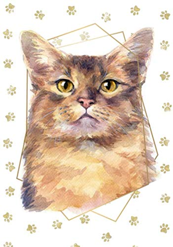 Somali-katze (Somali Shorthair Cat Portrait Notebook -- Creative Journal: LINED, College Ruled,7x10, Cream Paper,184 Pages)