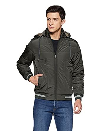 Qube By Fort Collins Men's Bomber Jacket (1223_XL_Grey)