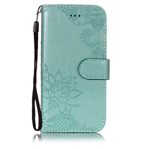 Cozy Hut iPhone 7 Hülle, Handyhülle iPhone 8 [Premium Leder] [Standfunktion] [Kartenfach] [Magnetverschluss] Schlanke Leder Brieftasche für iPhone 7 / iPhone 8 - Grüner Lotus