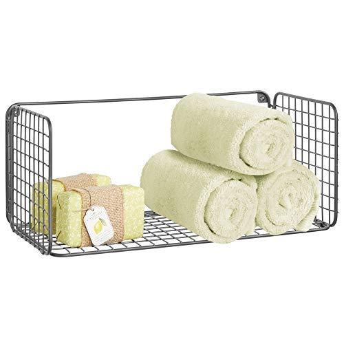 mDesign Balda para baño plegable – Práctica repisa de pared de alambre metálico – Cesta de alambre para guardar toallas de baño, champú y más – Estante de metal con diseño de rejilla – gris