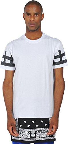 Pizoff Unisex Hip Hop Langes T-Shirt mit Paisley Druckmuster und seitlichen Reißverschluss Y0356-W
