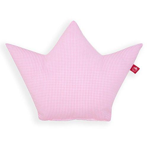 La Fraise Rouge 4251005602188 - Cuscino a forma di corona, motivo a quadretti, colore: Rosa/bianco
