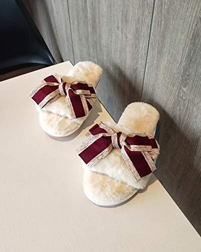 chen Frauen Winter Home Hausschuhe Warm Anti-Slip Innen Soft Bequem Baumwolle Velours Bow Tie Boden Schuhe, 35-36, Grau ()