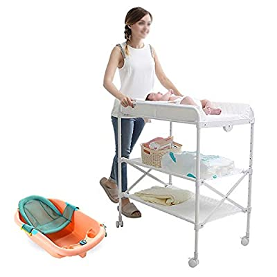 Diaper chaging tables Folding Baby Bath & Changing Tables, Infant Storage Bath Tub Unit Station Dresser with Brake Wheel, Adjustable White Massaging Table