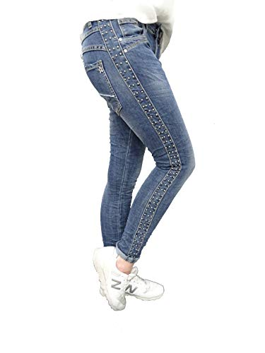 Jewelly by Lexxury Baggy Boyfriend Damen Stretch Hose Galon Streifen Nieten (L-40, Dark Denim)