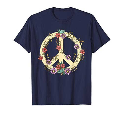 Peace Zeichen TShirt Flower Power Peace Hippie Kostüm (Peace Zeichen Hippie Kostüm)