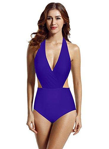 zeraca Damen Surplice Hohe Taille Neckholder Badeanzüge Einteilige Schwimmanzug (S Euro 36, Smouldering Navy)