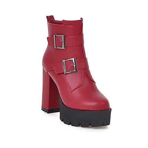 VogueZone009 Damen Weiches Material Rund Zehe Rein Niedrig-Spitze Hoher Absatz Stiefel, Cremefarben, 43