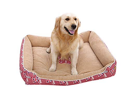 GUOCU Hundebett Hundesofa Schlafplatz Warm Weich Vlies Futter Haustierbett Waschbar Vier Jahreszeiten Verfügbar Vierteiliges Set Pink M