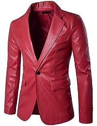 67a7978c99e3 À La Mode Hommes Costume Veste Retro Blazer Faux en Cuir Slim Fit Blazer  d affaires Loisirs Tuxedos Couleur Unie…