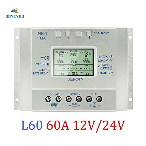 OOYCYOO 60A MPPT Solar Charge Controller, Solar Panel Regulator with Load Timer, 12V 24V Auto with LCD Display USB 5V 1500mA and Usd for Control Landscape Lights and Water Features (L60A) Charge Controller Regulator