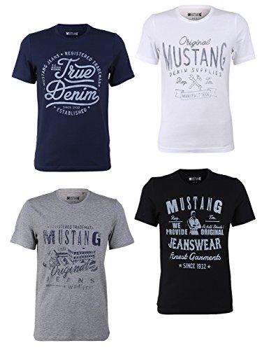 Mustang 4er Pack Herren T-Shirt mit Frontprint und Rundhalsausschnitt - Farbmix Blau und Schwarz, Größe:L, Farbe:Farbmix (P7)