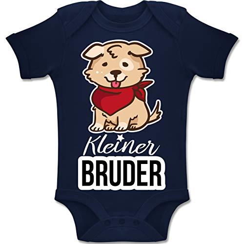 Shirtracer Geschwisterliebe Baby - Kleiner Bruder Hund mit Halstuch - 1-3 Monate - Navy Blau - BZ10 - Baby Body Kurzarm Jungen Mädchen (Ein Bin Ich Welpe Kleiner)