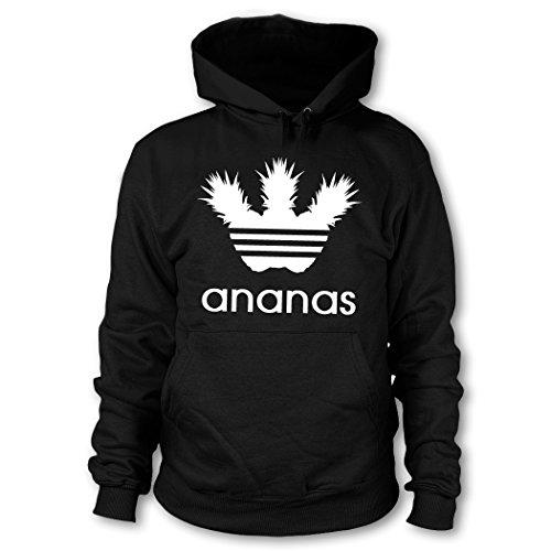 shirtloge - ANANAS - FUN Kapuzenpullover - Schwarz (Weiß) - Größe L