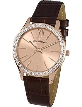 Jacques Lemans Damen-Armbanduhr Rome Analog Quarz Leder 1-1841D
