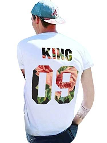 Tomwell Paar Pärchen Pullover Set Hoodies Langarm Kapuzenpulli Sweatshirt Pullover Tops Bluse Queen King 09 Drucken Kapuzen Sweatshirt 2 Stücke 09 (King/Queen) EU XL (Herren) (Bonnie Jean Kleidung)
