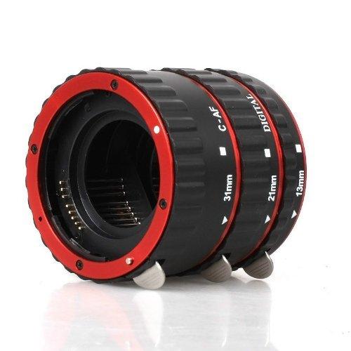 Automatik Zwischenringe (Rot mit Alu-Bajonett Version) 3-teilig 31mm, 21mm & 13mm für Makrofotographie passend zu Canon EF / EF-S