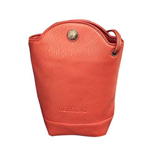 Mini Portemonnaie,Honestyi Damen Süß Bote Taschen Schlanke Crossbody Umhängetaschen Handtasche Mall Körper Taschen Mini Portemonnaie mit Lang Handy Geldbeutel (Orange) (Leder Tri-fold Handtasche)
