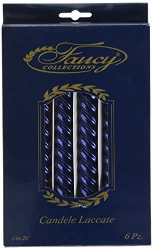 Givi Italia 51548Box 6lackiert gedrehte Kerzen blau cm. 20, Mehrfarbig