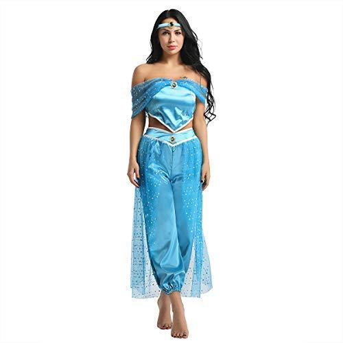 iixpin Damen Prinzessin Cospaly Kostüm Fancy Kleid Schulterfrei Crop Top + Ballonhose + Stirnband Karneval Fasching Verkleidung Blau - Blau Prinzessin Jasmin Kostüm