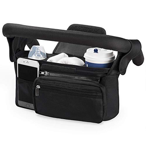 Borsa portaoggetti passeggino universale, Momcozy organizer passeggino valco con porta biberon termico portabicchieri per carrozzina, con grande spazio per pannolini e telefoni, Resistente all' acqua