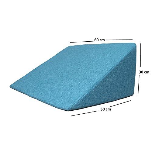 Foto de Cojín en cuña, soporte para la espalda para cama, sofá, ver la televisión y tablet relax y funda de almohada, luz de lectura y funda de almohada, tamaño 60 cm x 50 cm de altura de 30 cm de colour turquesa