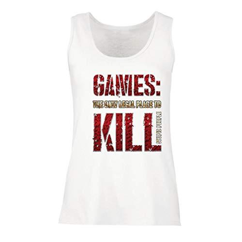 lepni.me Damen Tank-Top Spiele: der einzige legale Ort, um dumme Menschen zu töten Zitat (Small Weiß Mehrfarben)