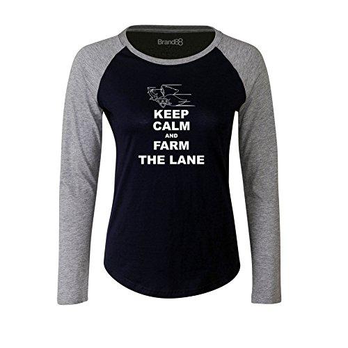 Brand88 - Keep Calm and Farm the Lane, Damen Langarm Baseball T-Shirt Blau & Grau