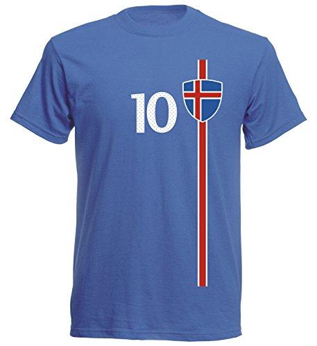 Island Kinder T-Shirt Trikot St-1 EM 2016 - blau Iceland Kids (140)