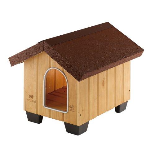 Feplast 87000000 Caseta de Exterior para Perros Domus Mini, Robusta Madera Ecosostenible, Pies de Plástico, Puerta con Revestimiento Resistente A Las...