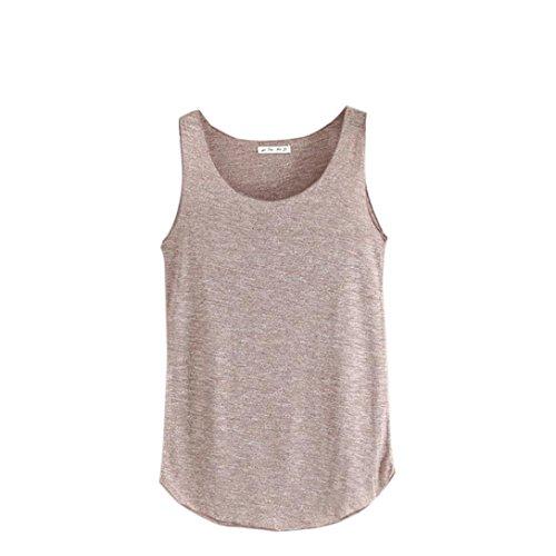 Damen Sommer T-Shirt Tank-ärmellos Rundhals lose Singlets Vest Tank Top Unterhemd Crop Top Sport Weste Super Weich Trägertop Damenblusen Freizeithemd Basic Hemd (Braun) (Anzug Satin Leibchen)