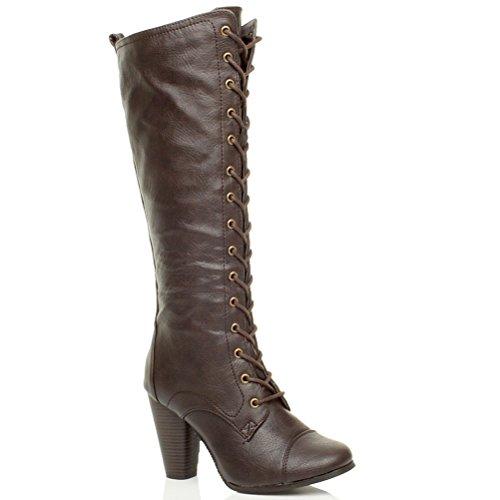 Donna tacco alto blocco stringhe ginocchio goticoa stivali militari taglia Marrone