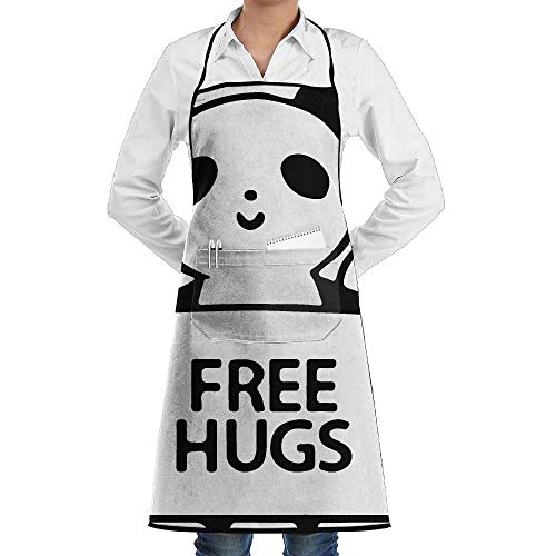 dfgjfgjdfj Panda Free Hugs Schürze Lace Unisex Mens Womens Chef Adjustable Polyester Long Full Black Cooking Kitchen Schürzes Bib with Pockets for Restaurant Baking Crafting Gardening BBQ - Lady Panda Kostüm
